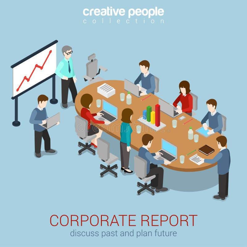 等量办公室会议室报告合作平的3d的网 库存例证