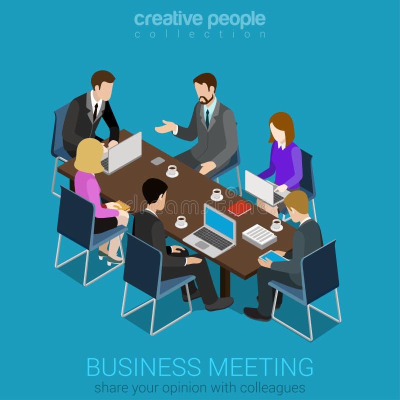 等量办公室会议室报告合作平的3d的网 向量例证
