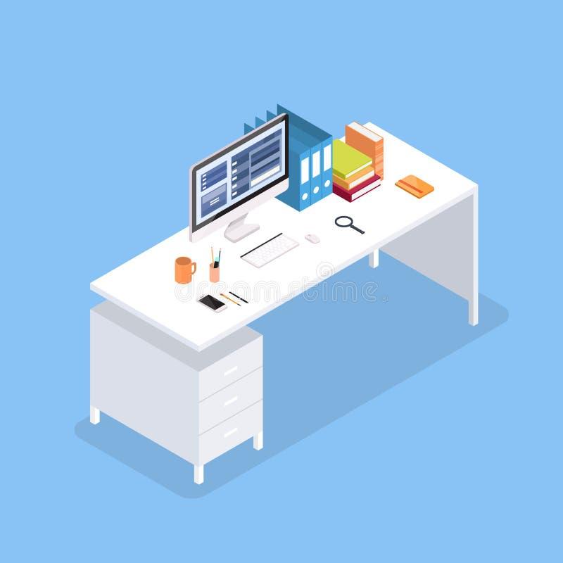 等量办公室内部台式计算机的书桌3d 向量例证
