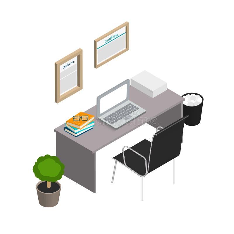 等量办公室内部 现代工作场所 库存例证