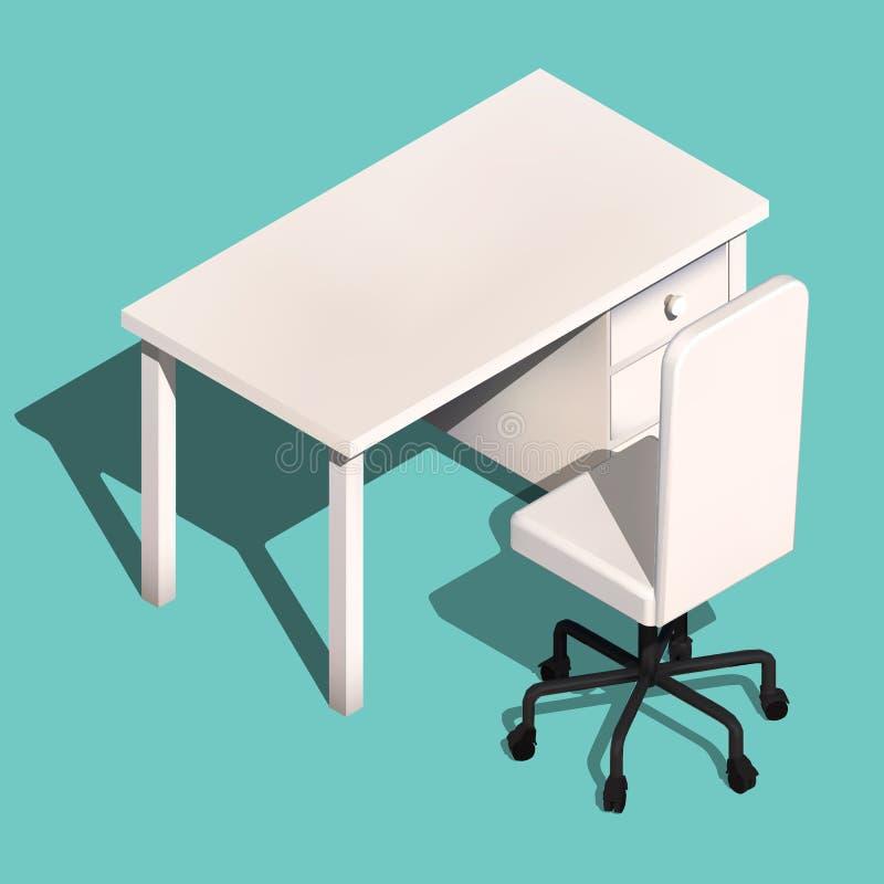 等量办公室桌和轮椅 现代工作场所设计,传染媒介 库存例证