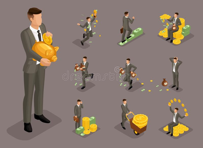 等量动画片人民、3d商人、有钱人有金钱的用不同的情况,大人和微型概念 库存例证