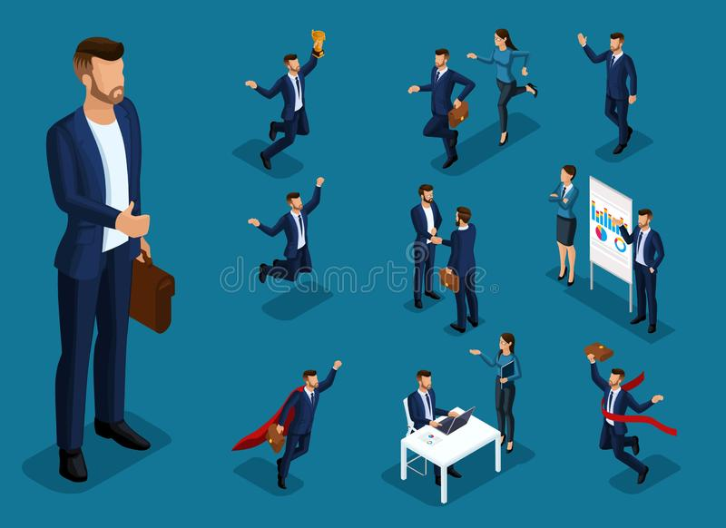 等量动画片人民,3d设置了商人和企业事务夫人用不同的情况,大人 向量例证