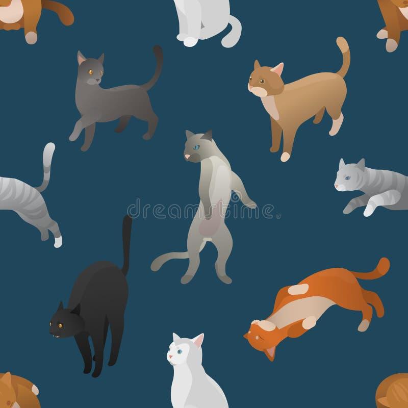 等量动画片猫的无缝的样式 皇族释放例证