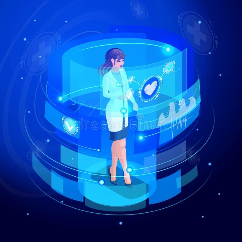 等量医生在一个虚屏,显示器,集合6,生命维持的遥控医疗设备上工作 高科技 库存例证