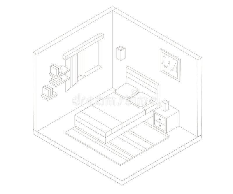 等量卧室概述例证 o 向量例证