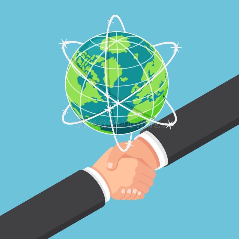 等量商人与合作握手在地球g下 库存例证