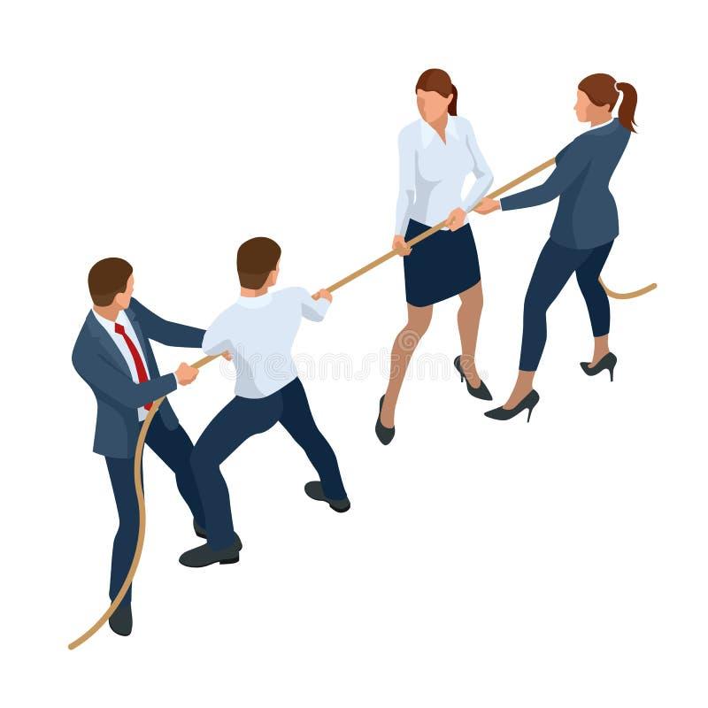 等量商人和女实业家衣服的拉扯绳索,竞争,冲突 竞争的拔河和标志 皇族释放例证