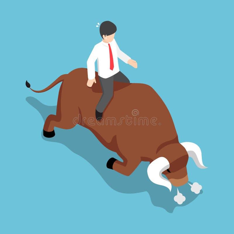 等量商人坐恼怒的公牛后面 皇族释放例证