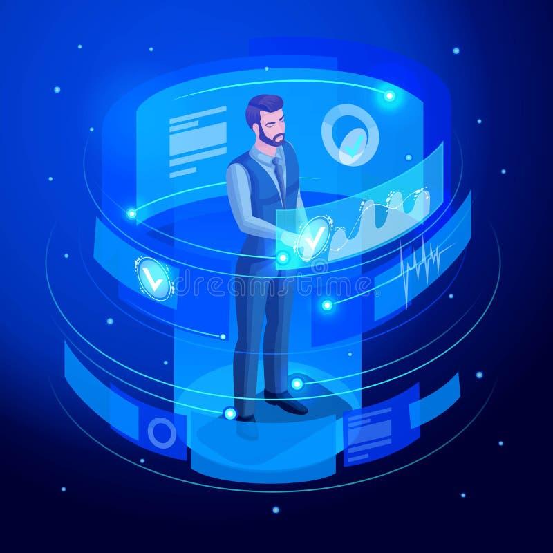 等量商人工作虚屏,观看关于销售和销售日程表的报告 高科技 库存例证