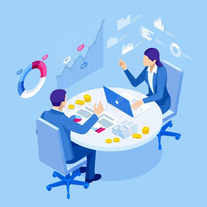 等量商人谈的会议候选会议地点 团队工作过程 业务管理配合会议和 向量例证