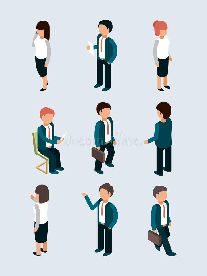 等量商人 行动的年轻男女办公室经理主任工作者摆在队对话传染媒介3d 皇族释放例证