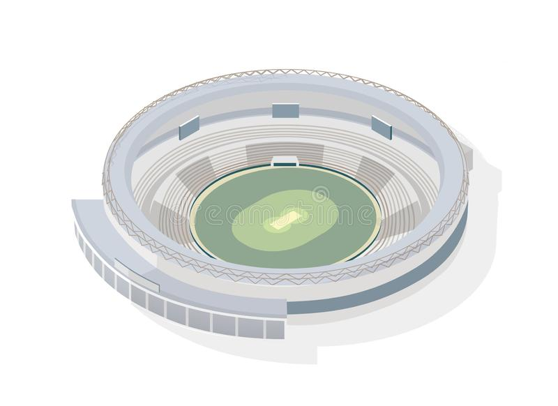 等量圆的竞技场 在白色背景隔绝的圆板球体育场 运动会比赛地点、大厦或者结构为 向量例证