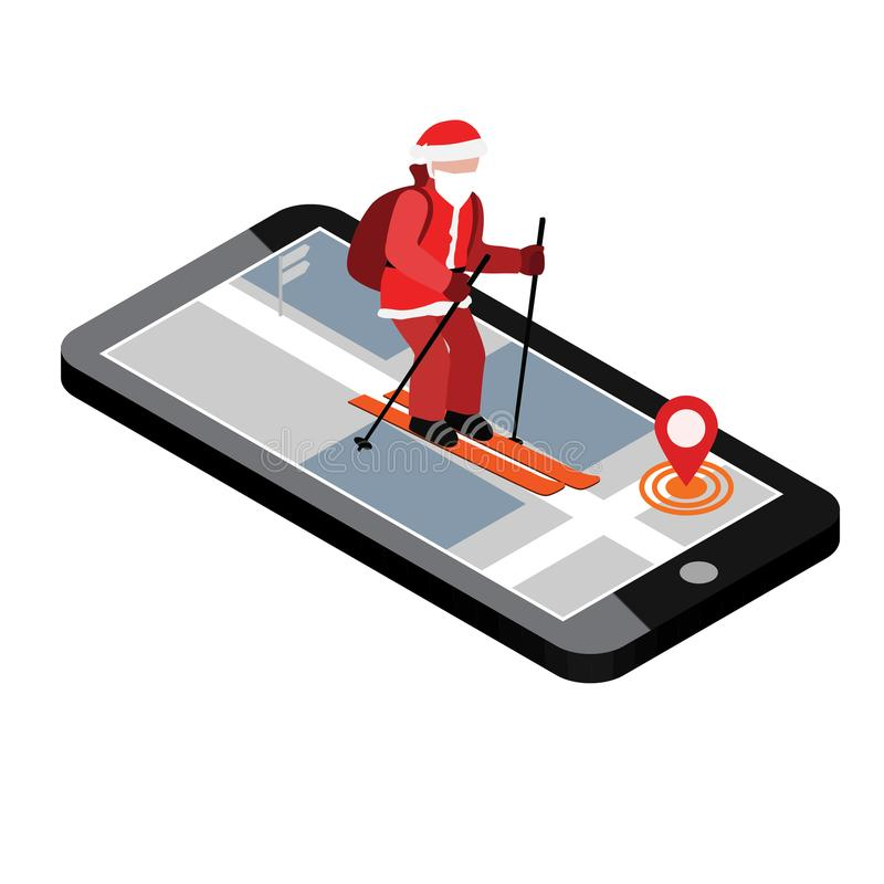 等量圣诞老人滑雪 圣诞老人市流动航海帮助圣诞老人交付礼物 圣诞节和新年是 向量例证