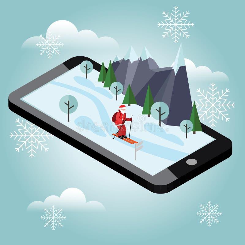 等量圣诞老人滑雪 圣诞老人越野流动航海帮助圣诞老人交付礼物 圣诞节新年度 向量例证