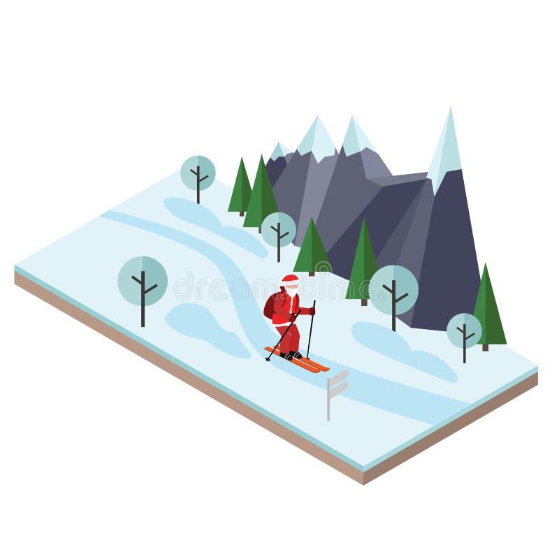 等量圣诞老人滑雪 圣诞节和新年来临 圣诞老人拉扯礼物 越野滑雪,冬季体育 皇族释放例证