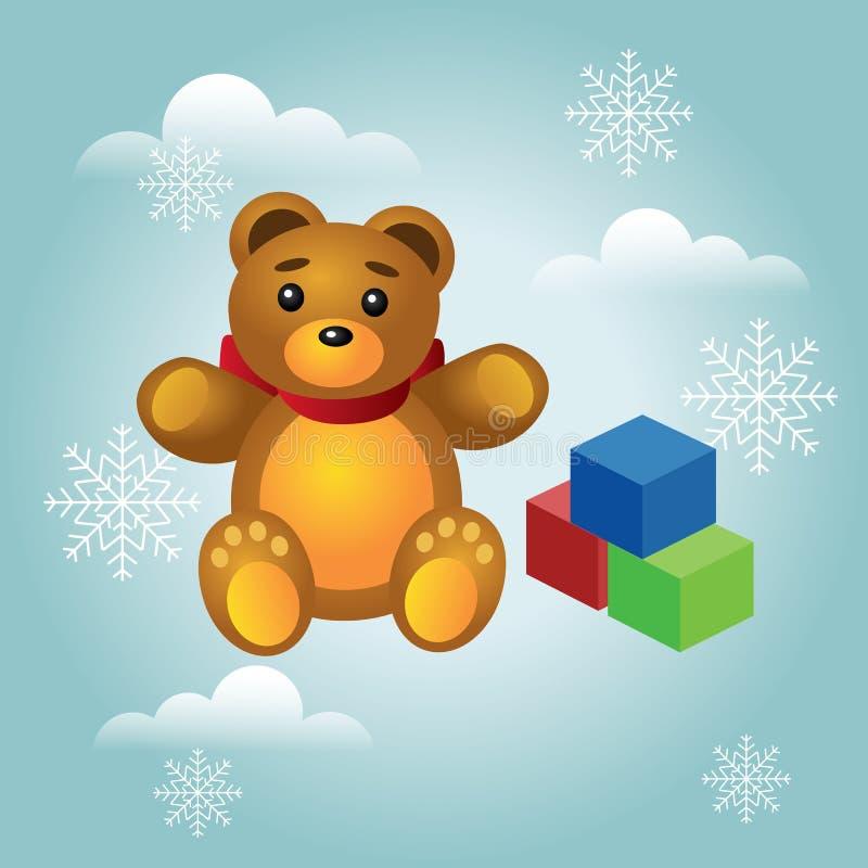 等量圣诞节和新年幼稚礼物和玩具 逗人喜爱的在白色隔绝的玩具熊和五颜六色的立方体 皇族释放例证