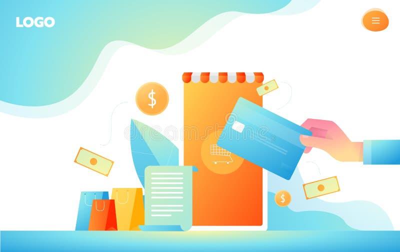 等量在网上购物和付款网上概念 互联网付款,保护金钱调动,网上银行传染媒介 皇族释放例证