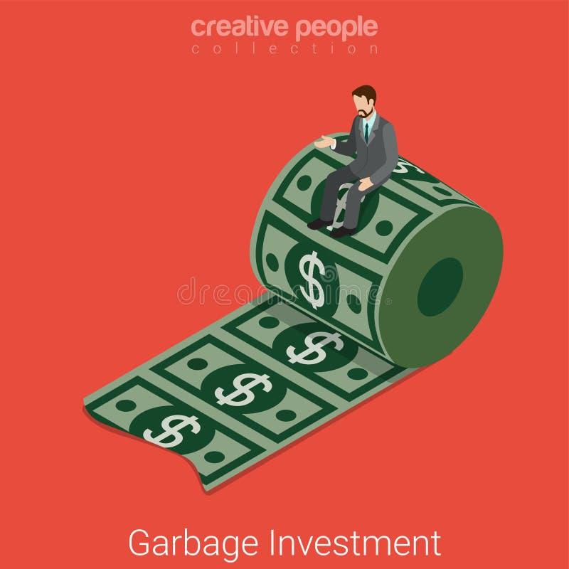 等量垃圾废投资金钱美元平的3d的传染媒介 皇族释放例证