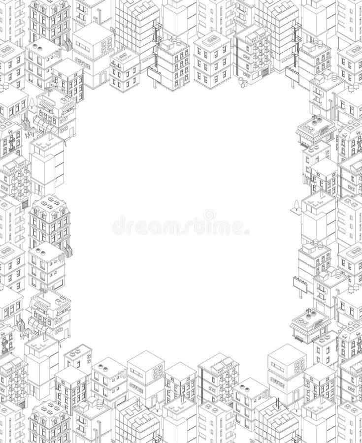 等量城市大厦 A4长方形框架 灰色线概述等高样式 背景不动产 r 库存例证