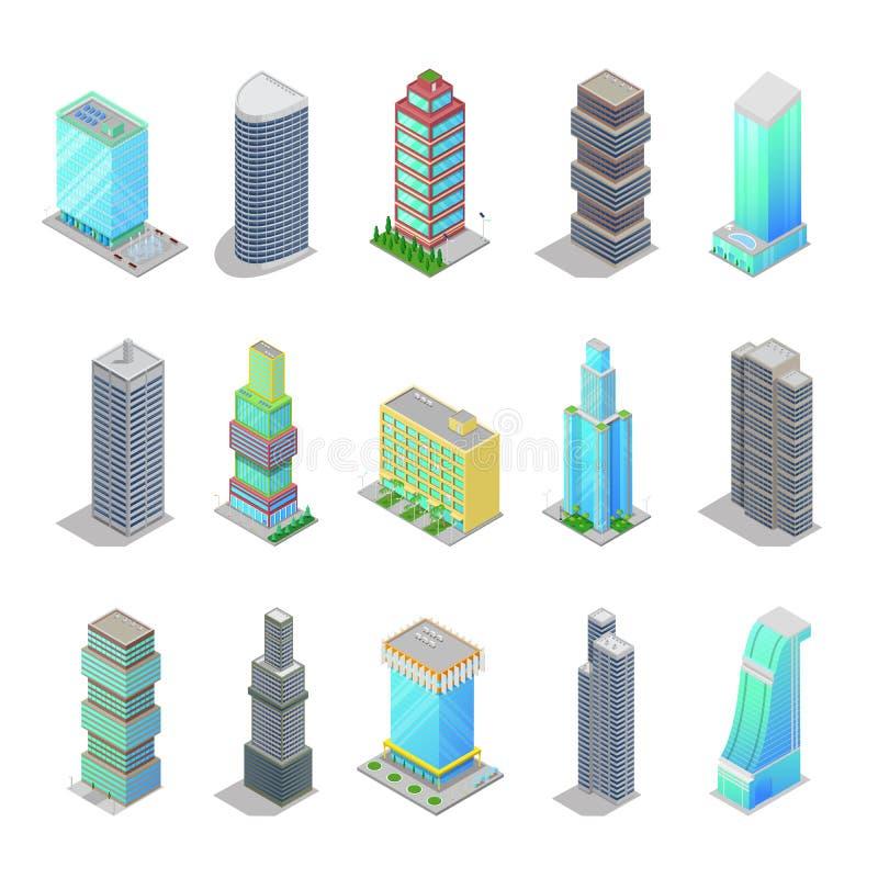 等量城市摩天大楼大厦 现代结构的都市风景 向量例证