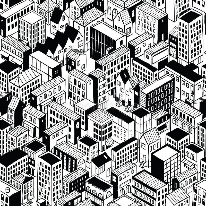 等量城市无缝的样式-小 库存例证