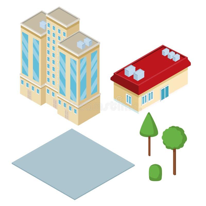 等量城市3d 库存例证