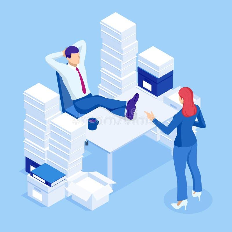 等量堆文书工作和文件在办公室,官僚,超载 官僚主义者在办公室 向量例证