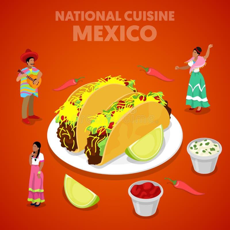 等量墨西哥全国烹调用炸玉米饼、胡椒和墨西哥人民传统衣裳的 皇族释放例证