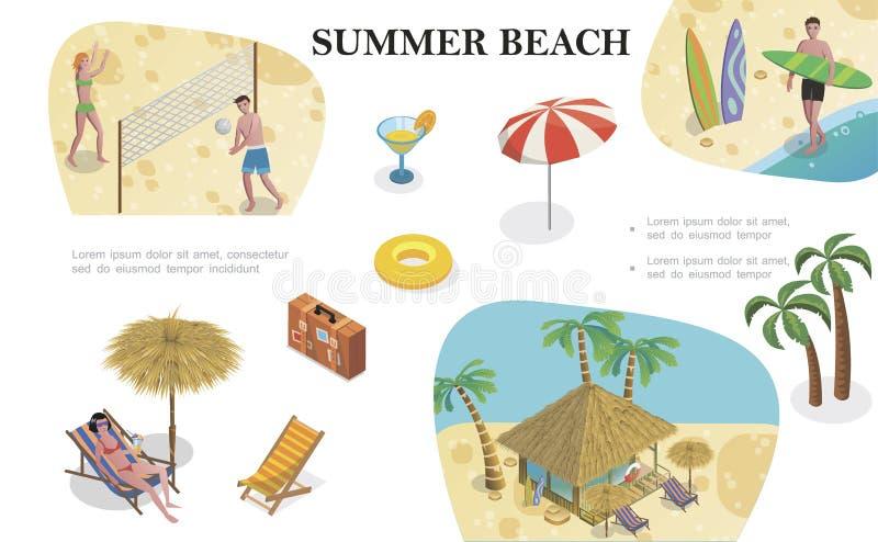 等量夏天海滩假期概念 库存例证