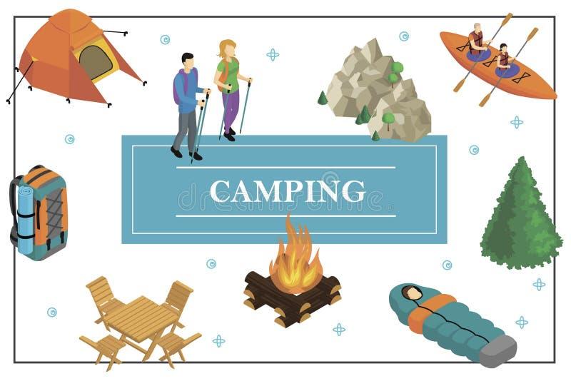 等量夏天野营的概念 库存例证