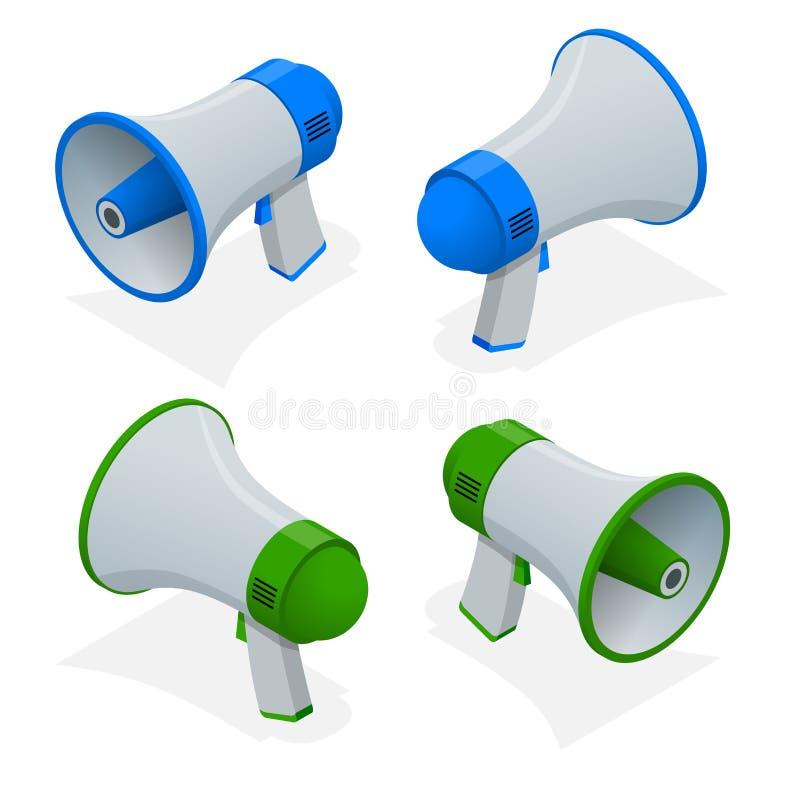 等量套扩音机,手提式扬声机,在白色背景隔绝的扩音器 库存例证
