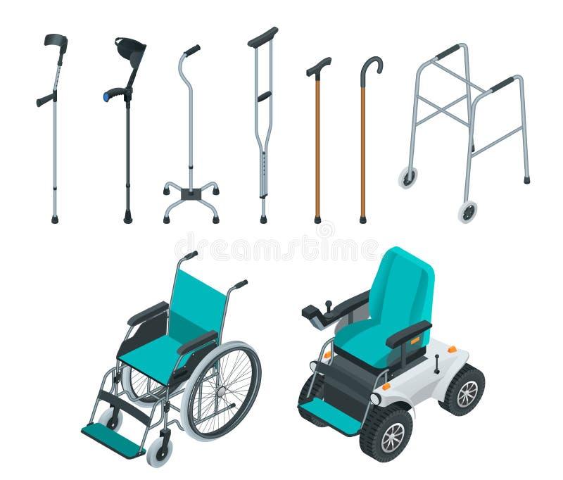 等量套流动性援助包括轮椅和电动轮椅、步行者、拐杖、方形字体藤茎和前臂 库存例证