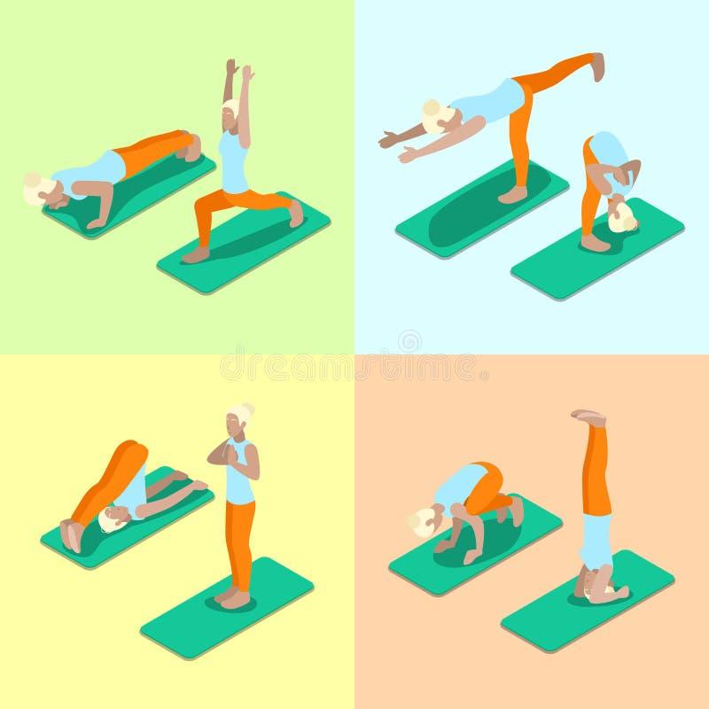 等量女子瑜伽摆在锻炼健身房锻炼 健康生活方式 库存例证