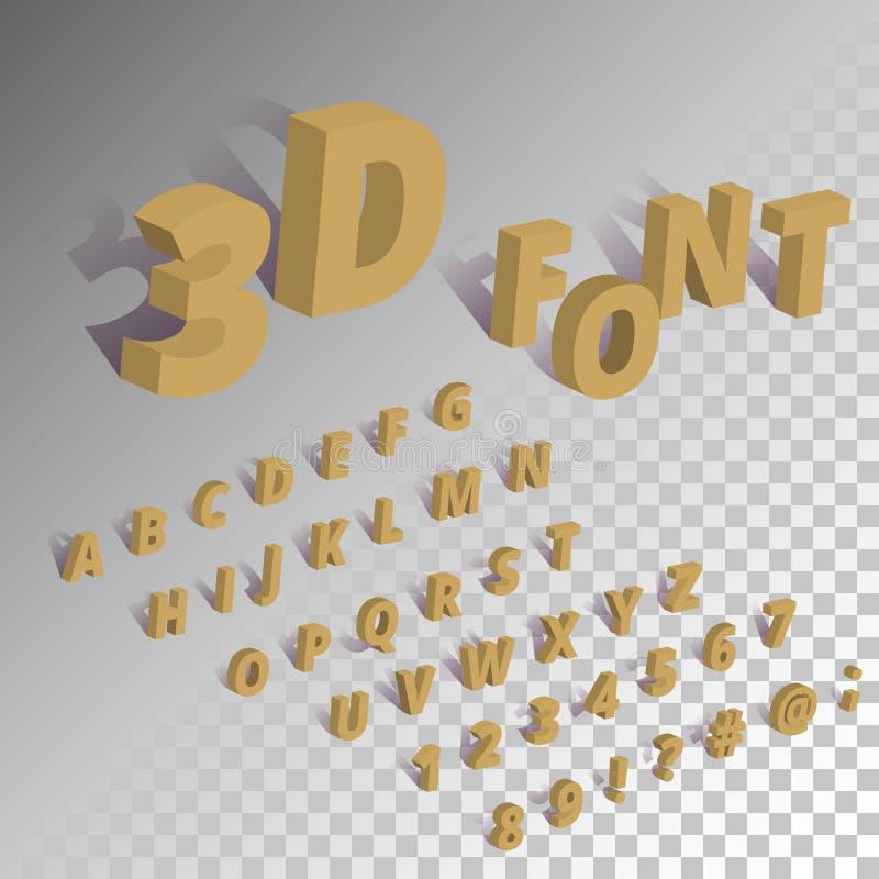 等量字体字母表集合 3d字符和标志与阴影在透明背景 库存例证