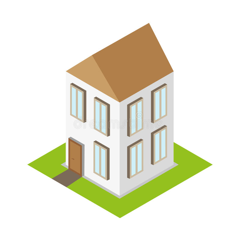 等量家庭房子3d平的大厦 皇族释放例证