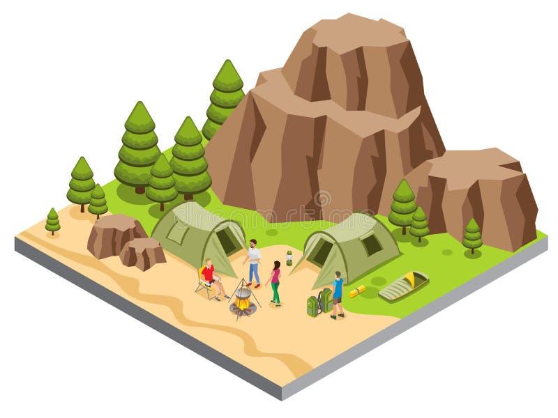 等量山野营的模板 库存例证