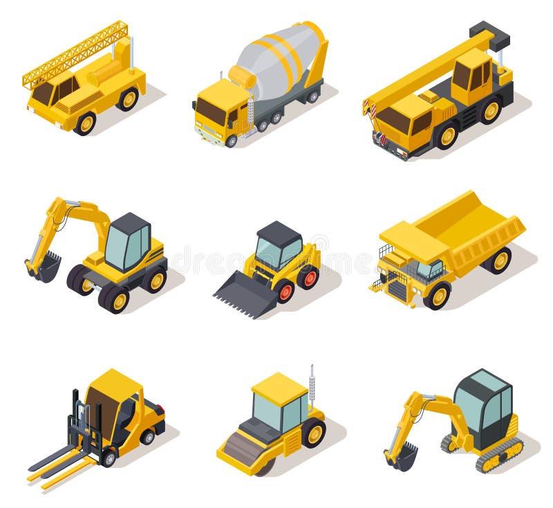 等量工业机械 3d建筑器材卡车车电动工具重的机器挖掘机推土机 向量例证