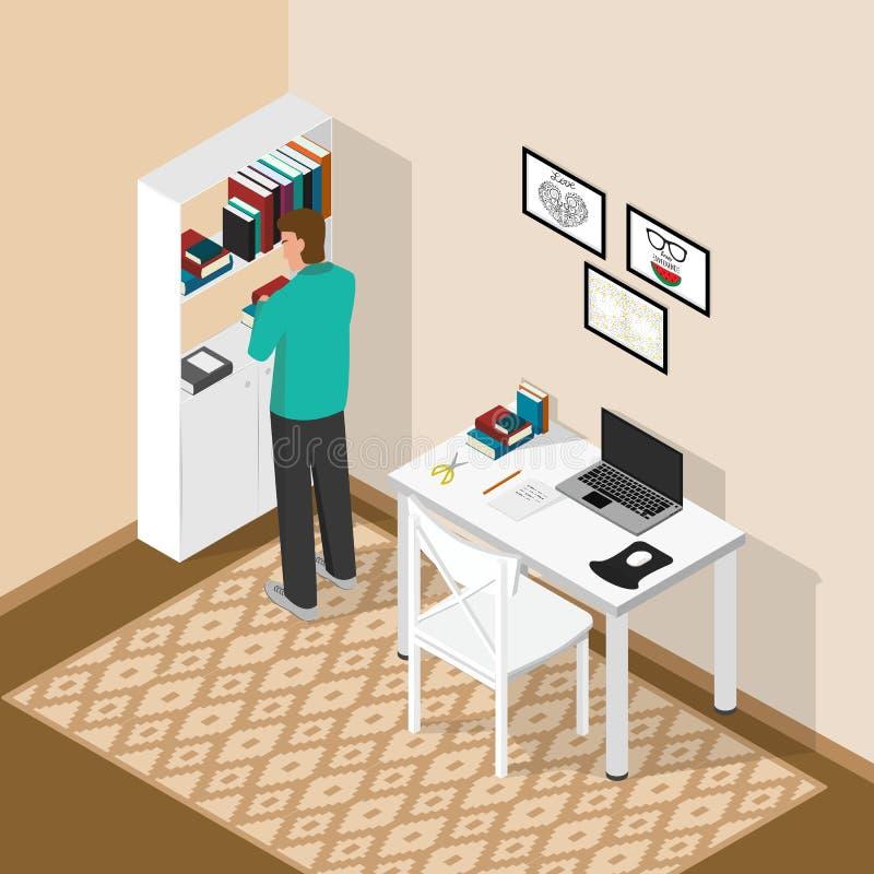 等量工作场所在屋子里 有膝上型计算机和书的计算机书桌 人在选择书的书架附近站立 库存例证
