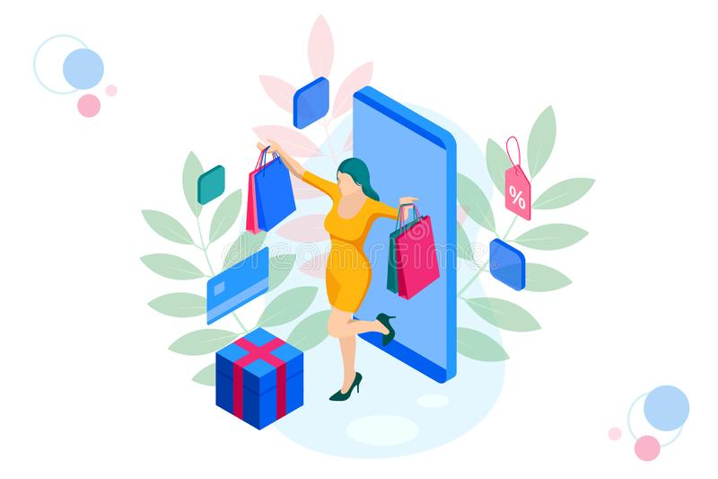 等量巧妙的电话网上购物概念 网上商店 愉快的女孩做与信用卡的onlan购物 皇族释放例证