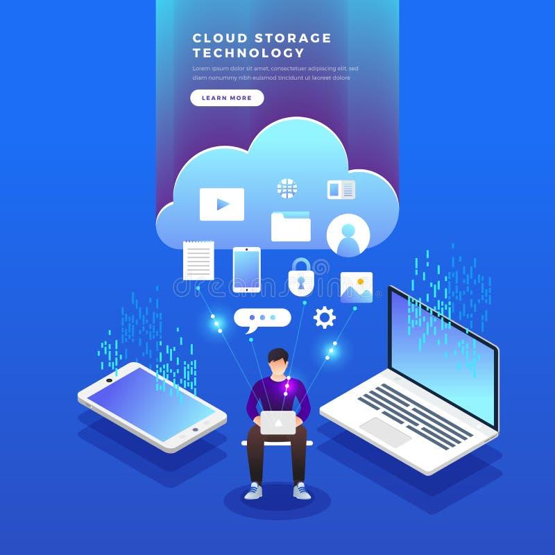 等量平的设计观念云彩技术数据传送和 库存例证