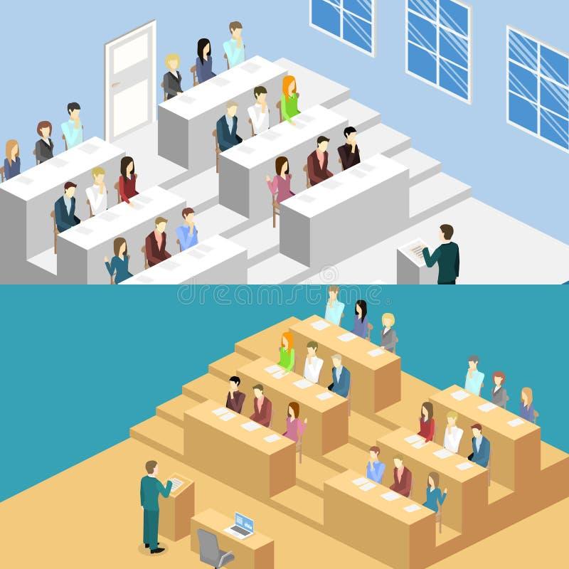 等量平的3D概念内部大学观众席 库存例证