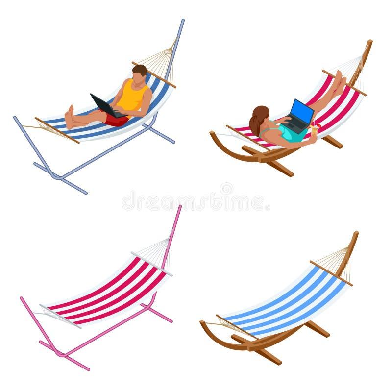 等量庭院吊床 放松在吊床在夏天庭院里 向量例证
