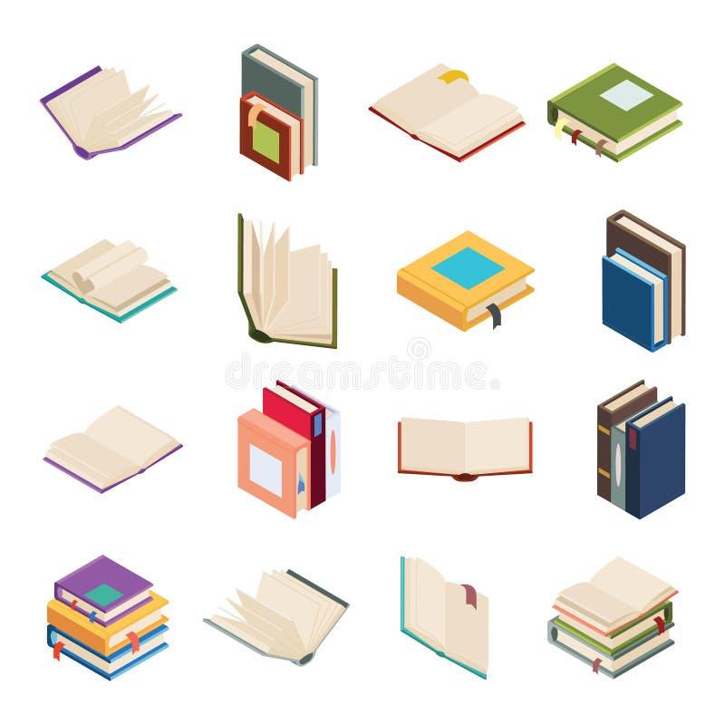 等量开放书架被隔绝的教育读书象设置了3d平的设计传染媒介例证 向量例证