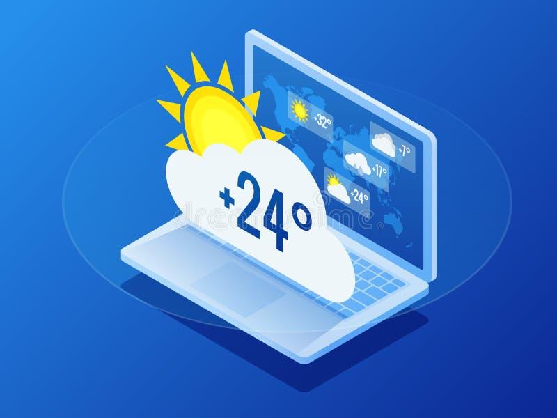 等量当前天气情况和气象展望天气情况新闻报告气候预测 库存例证