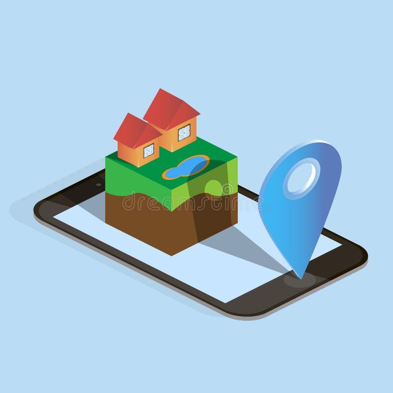 Download 等量房子、手机和地图箭头 向量例证. 插画 包括有 电话, 等量, 商业, 箭头, 现有量, 城市, 地点 - 72353092