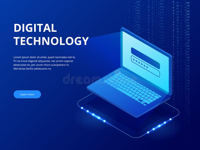 等量技术设备连接了,大数据处理,未来能量驻地,服务器室机架,数据中心概念 向量例证