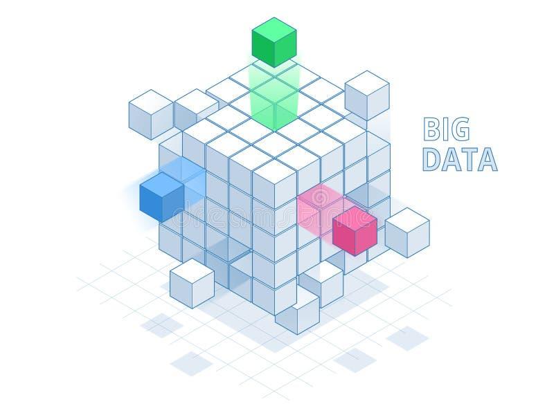 等量抽象大数据立方体,箱子数据 科学技术 也corel凹道例证向量 向量例证