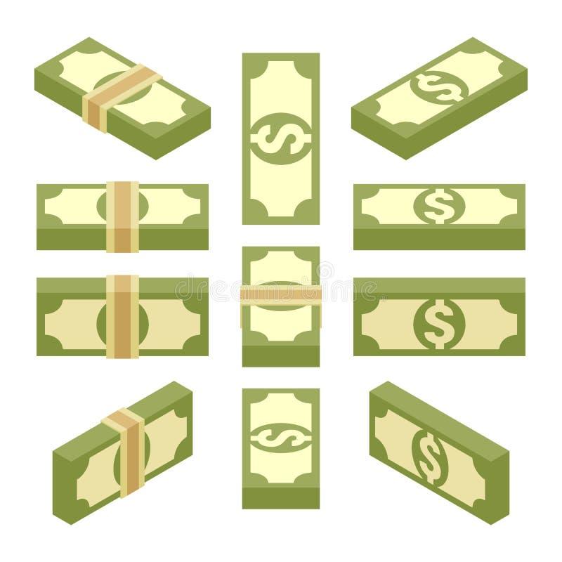 等量捆绑纸币 库存例证