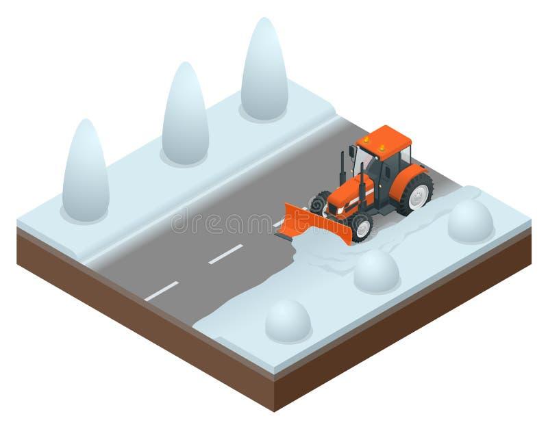 等量推土机从路老雪清洗 吹雪机的传染媒介例证 库存例证
